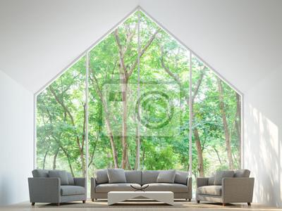 Moderne weiße wohnzimmer im wald 3d rendering image minimalistischen ...