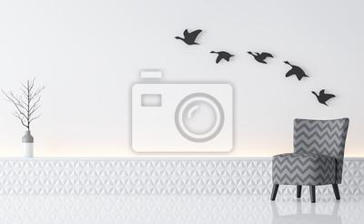 Fototapete Moderne Weiße Wohnzimmer Innenraum Minimalistischen Stil Bild 3d  Rendering. Es Gibt Grau Sessel,