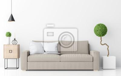 Fototapete Moderne Weiße Wohnzimmer Interieur Minimalistischen Stil Bild 3d  Rendering. Es Gibt Hellbraunes Sofa,