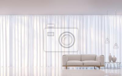 Fototapete Moderne Weiße Wohnzimmer Minimal Stil 3D Rendering Image.There  Sind Dekorieren Zimmer Mit