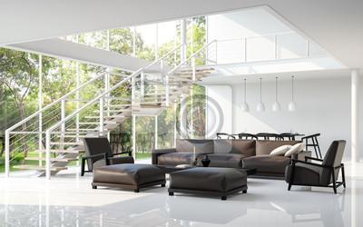 Moderne weiße wohnzimmer und esszimmer 3d-rendering bild.das ...