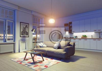 Moderne wohnung interieur fototapete • fototapeten appartment ...
