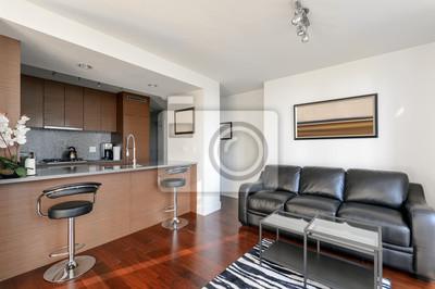 Innenarchitektur Wohnzimmer | Moderne Wohnung Wohnzimmer Und Kuche Innenarchitektur Fototapete