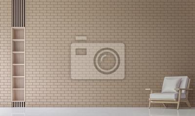 Fototapete Moderne Wohnzimmer Dekorieren Wand Mit Backstein 3D Rendering  Image.Minimalist Stil Weißen Boden Verzieren