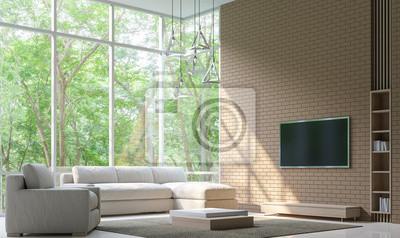 Moderne Wohnzimmer Dekorieren Wand Mit Backstein 3d Rendering