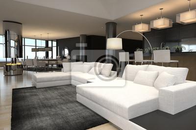 Moderne wohnzimmer innenraum   design loft fototapete • fototapeten ...