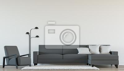 Moderne wohnzimmer interieur mit schwarz-weiß-3d-rendering image ...