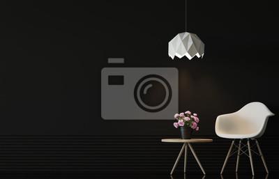 Moderne wohnzimmer interieur mit schwarzen wand d rendering