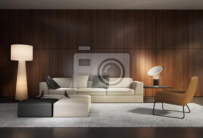 Moderne wohnzimmer mit hölzernen wand-und minimal-sofa fototapete ...