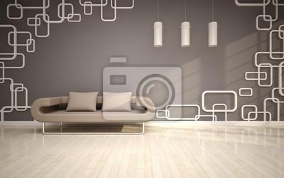 Moderne wohnzimmer mit sofa beige fototapete • fototapeten Lounge ...