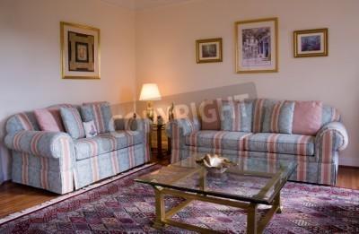 Fototapete Moderne Wohnzimmer Mit Sofas Und Glastisch An Seite Lampe  Leuchtet