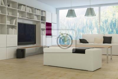 Moderne wohnzimmer mit stilvollen weißen möbeln fototapete ...