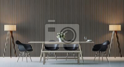 Fototapete Moderne Zeitgenössische Esszimmer Innenraum 3d Rendering  Image.There Sind Dekorieren Wand Mit Vertikalen Holz