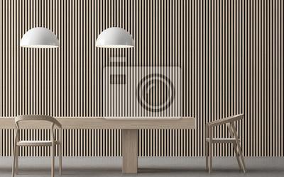 Fototapete Moderne Zeitgenössische Esszimmer Interieur 3D Rendering Bild.  Es Gibt Holzmöbel, Betonboden