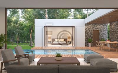 Fototapete Moderne Zeitgenössische Pool Villa 3D Rendering Image.Pool Villa  Umgeben Von Natur, Gibt