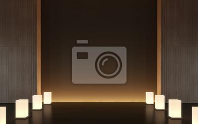 Fototapete Moderne Zeitgenössische Raum Interieur Mit Holz 3D Rendering  Bild, Es Gibt Minimalistischen Stil