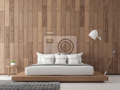 Fototapete Moderne Zeitgenössische Schlafzimmer Interieur 3D Rendering  Image.There Sind Weiße Boden Verzieren Wand