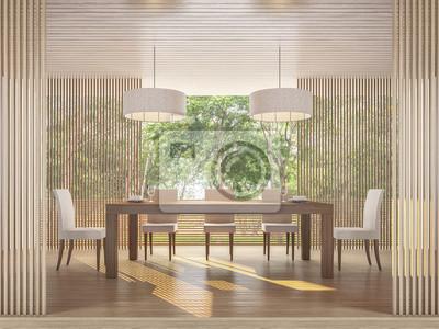 Fototapete Moderne Zeitgenössische Speisesaal Mit Naturblick 3D Rendering  Bild Es Gibt Holzboden Und Decke Verzieren