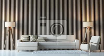 Fototapete Moderne Zeitgenössische Wohnzimmer Interieur 3D Rendering  Image.There Sind Dekorieren Wand Mit Vertikalen