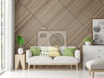 Fototapete Moderne Zeitgenössische Wohnzimmer Mit Holzgitter 3D Rendering  Image.There Sind Weiße Boden Verzieren
