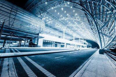 Fototapete modernen Bahnhof in der Nacht