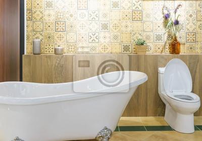 Moderner Badezimmerinnenraum Mit Beleuchtung Weisse Toilette