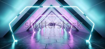 Fototapete Moderner futuristischer ausländischer reflektierender konkreter Korridor-Tunnel-leerer Raum mit purpurrotem und blauem glühendem Neonlicht-Hintergrund-Hexagon-Boden 3D, der Illustration überträgt