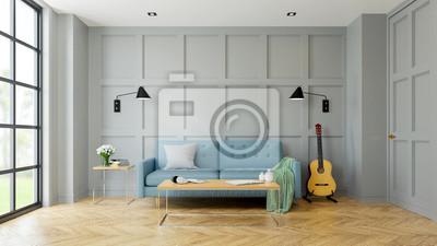 Moderner Innenraum Der Weinlese Des Wohnzimmers Blaues Sofa