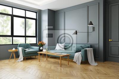 Moderner Innenraum Der Weinlese Des Wohnzimmers Grunes Sofa