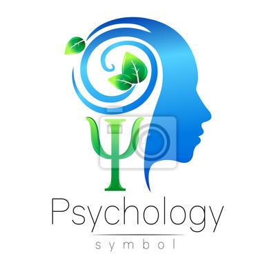 Moderner kopf logo zeichen der psychologie. profil mensch. grüne ...