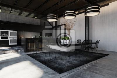 Moderner schwarzer designer loft umbau interieur fototapete ...