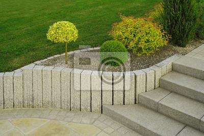 Fototapete Moderner Vorgarten Als Steingarten Mit Treppe Aus Granit