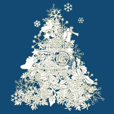Moderner Weihnachtsbaum.Fototapete Moderner Weihnachtsbaum In Weiss