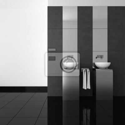 Modernes Bad Mit Zwei Waschbecken Und Schwarzen Boden Fototapete