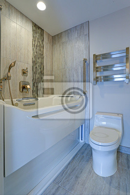 Fototapete: Modernes badezimmer design mit jacuzzi walk-in badewanne