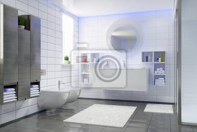 Fototapete: Modernes badezimmer in weiß und schwarz, dusche, hängeschränke,
