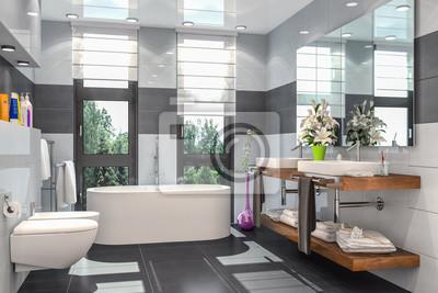 Fototapete Modernes Badezimmer In Weiß Und Schwarz Mit Badewanne, WC, Bidet  Und Zwei Waschbecken