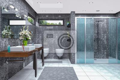 Modernes badezimmer in weiß und schwarz mit dusche ...