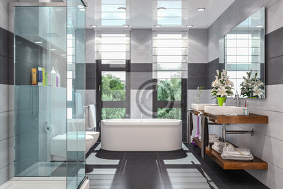Fototapete Modernes Badezimmer In Weiß Und Schwarz Mit Dusche, Badewanne,  WC, Bidet Und