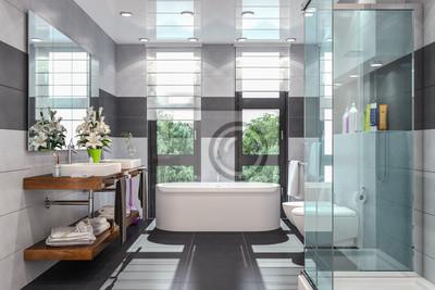 Fototapete: Modernes badezimmer in weiß und schwarz mit dusche, badewanne,