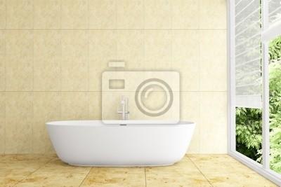 Fototapete Modernes Badezimmer Mit Beige Fliesen An Wand Und Boden