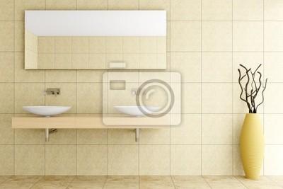 Fototapete: Modernes badezimmer mit beige fliesen an wand und boden