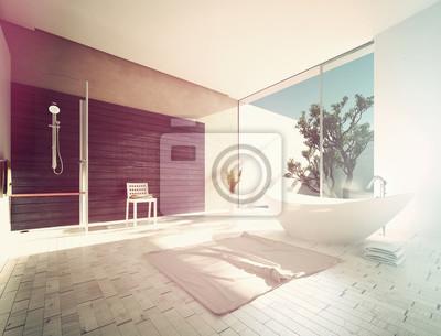 Modernes badezimmer mit freistehender wanne fototapete • fototapeten ...