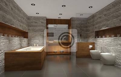 Modernes badezimmer mit holz und stein, badezimmer fototapete ...