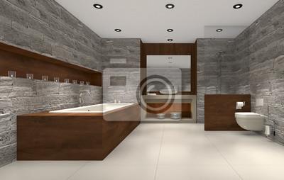 Modernes Badezimmer Mit Holz Und Stein Badezimmer Fototapete