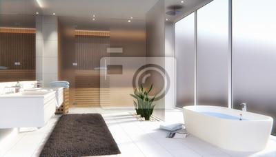 Modernes badezimmer mit sauna - 3d render fototapete ...