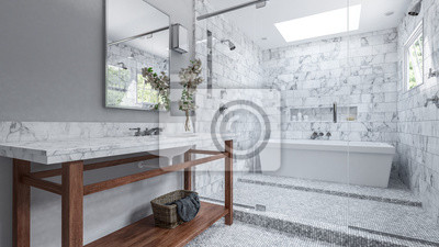 Fototapete Modernes Badezimmer Mit Weißen Fliesen Und Badewannen