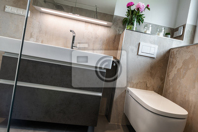Fototapete: Modernes badezimmer, toilette und waschbecken