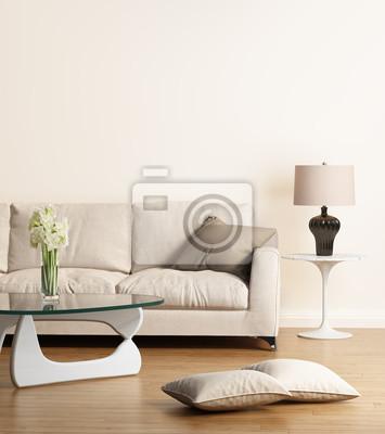 Fototapete: Modernes beige sofa in einem modernen wohnzimmer
