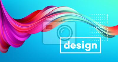 Fototapete Modernes buntes Flussplakat. Flüssige Form der Welle im blauen Farbhintergrund. Art Design für Ihr Designprojekt. Vektor-Illustration